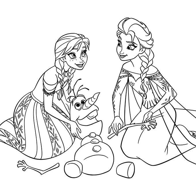 kleurplaat Anna, Elsa en Olaf