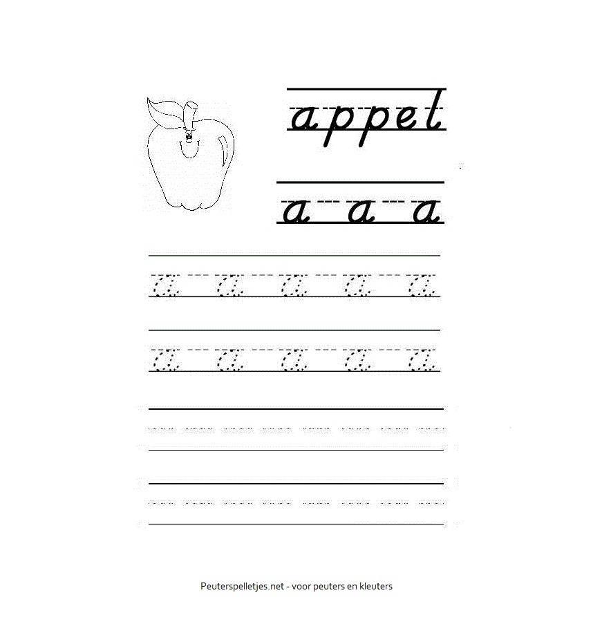 letter A werkblad