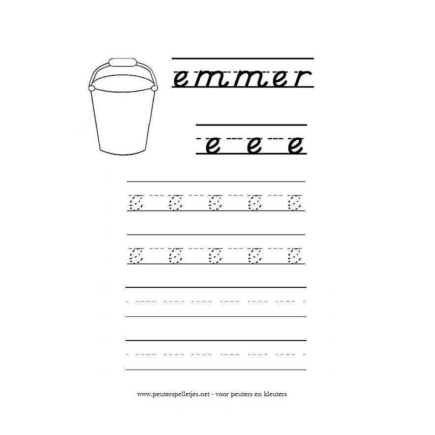 letter E werkblad