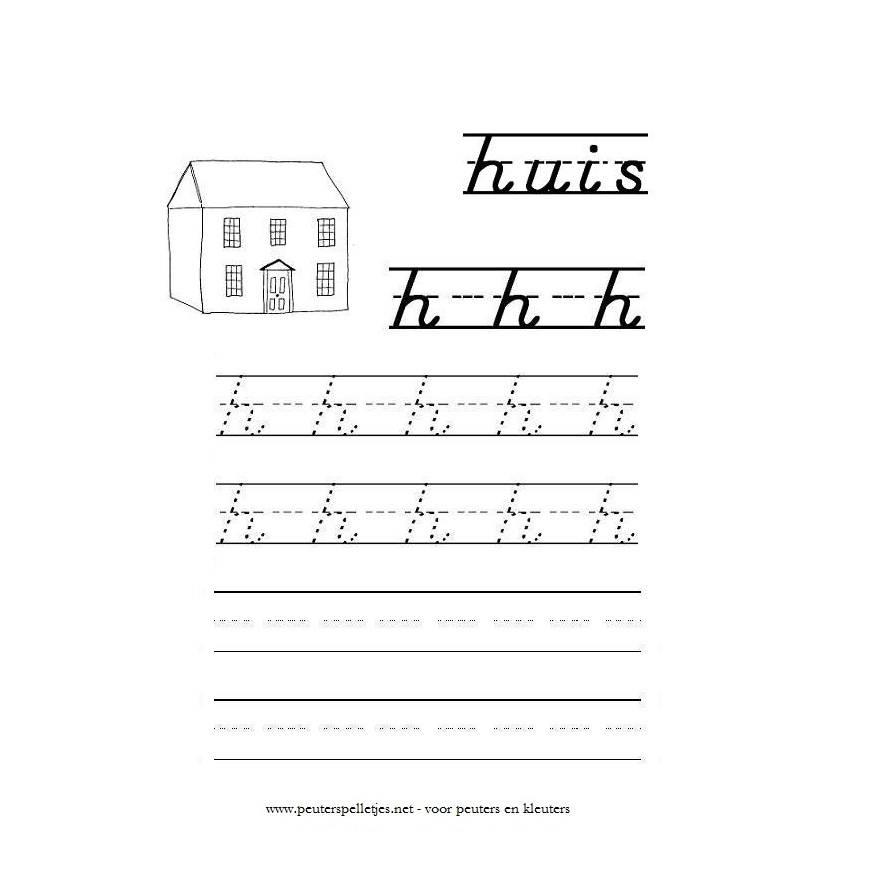 letter H werkblad