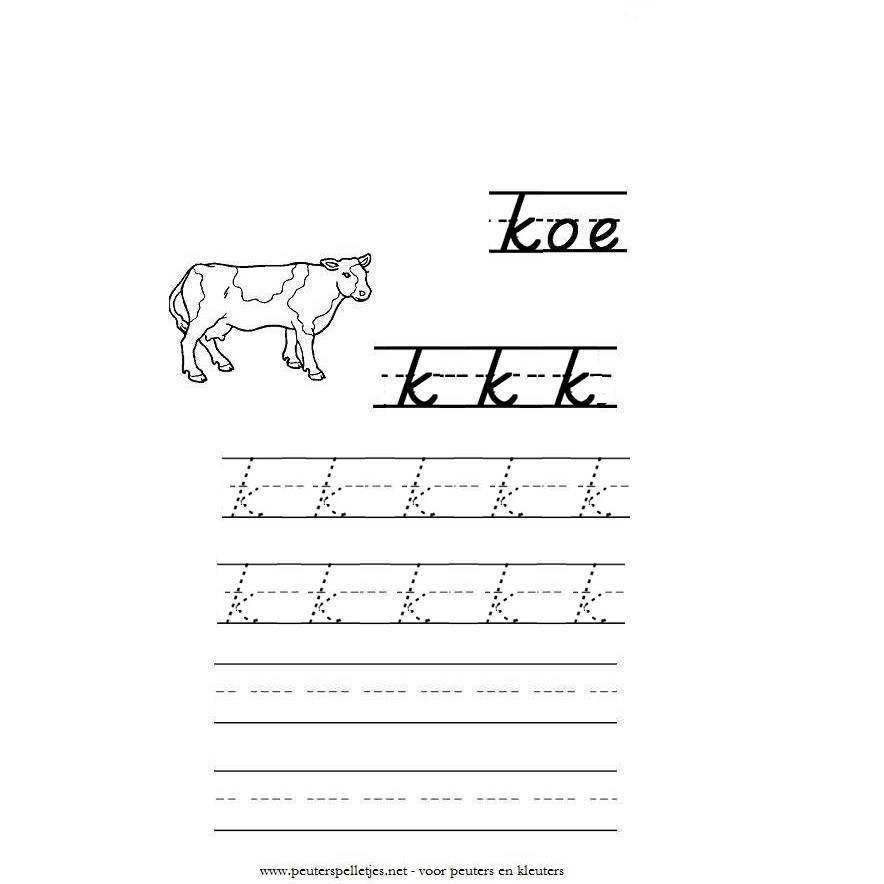 letter K werkblad